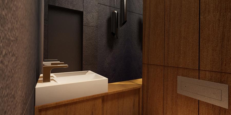 Projekt łazienek w mieszkaniu na Żoliborzu. Warszawa 2011r. autor: Mateusz Brajczewski
