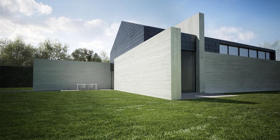 Projekt domu jednorodzinnego z pracownią w Izabelinie, 2009r, autor: Mateusz Brajczewski